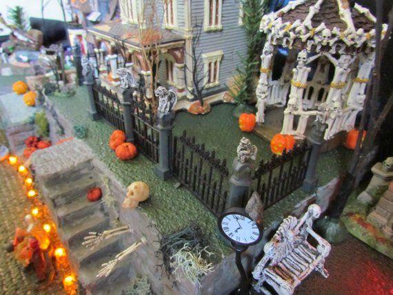 HALLOWEEN Village Display,  Double Stairs, Village Display platform base 42x12 Dept 56 Lemax, Department 56, Snow Village usn #halloweenvillagedisplay