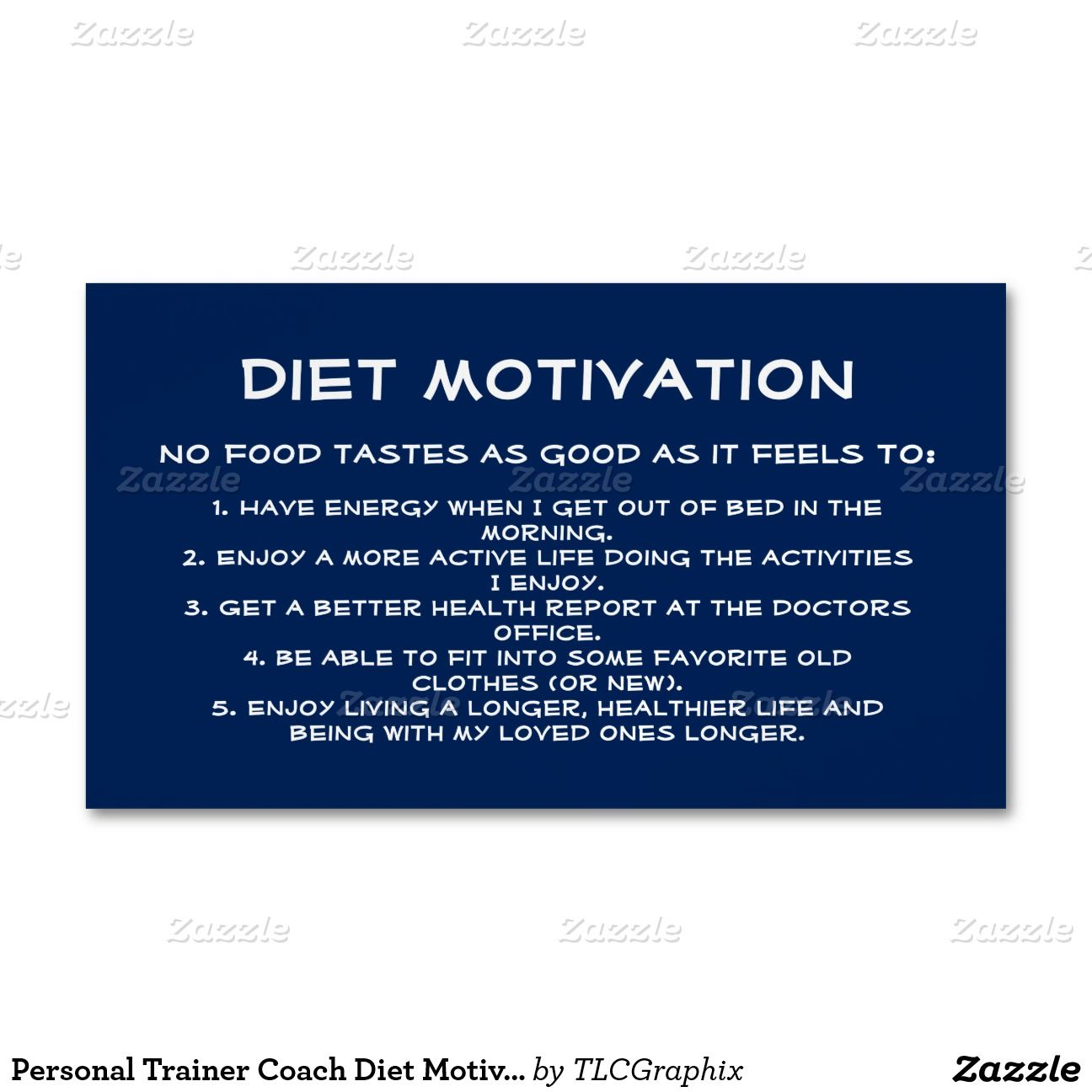Personal Trainer Coach Diet Motivation Blue White Magnetic Business Cards No food tastes as good as it feels to have energy, feel good, be active, healthy, fit into those old loved clothes and enjoy a longer, healthier life! Great for a trainer, nutritionist, diet or sports coach. Help your clients stay on track and motivate weight loss !