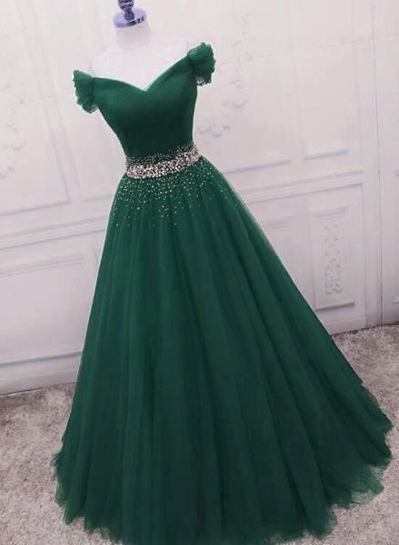 Fashionable Dark Green Long Beade Formal Dress, Gr