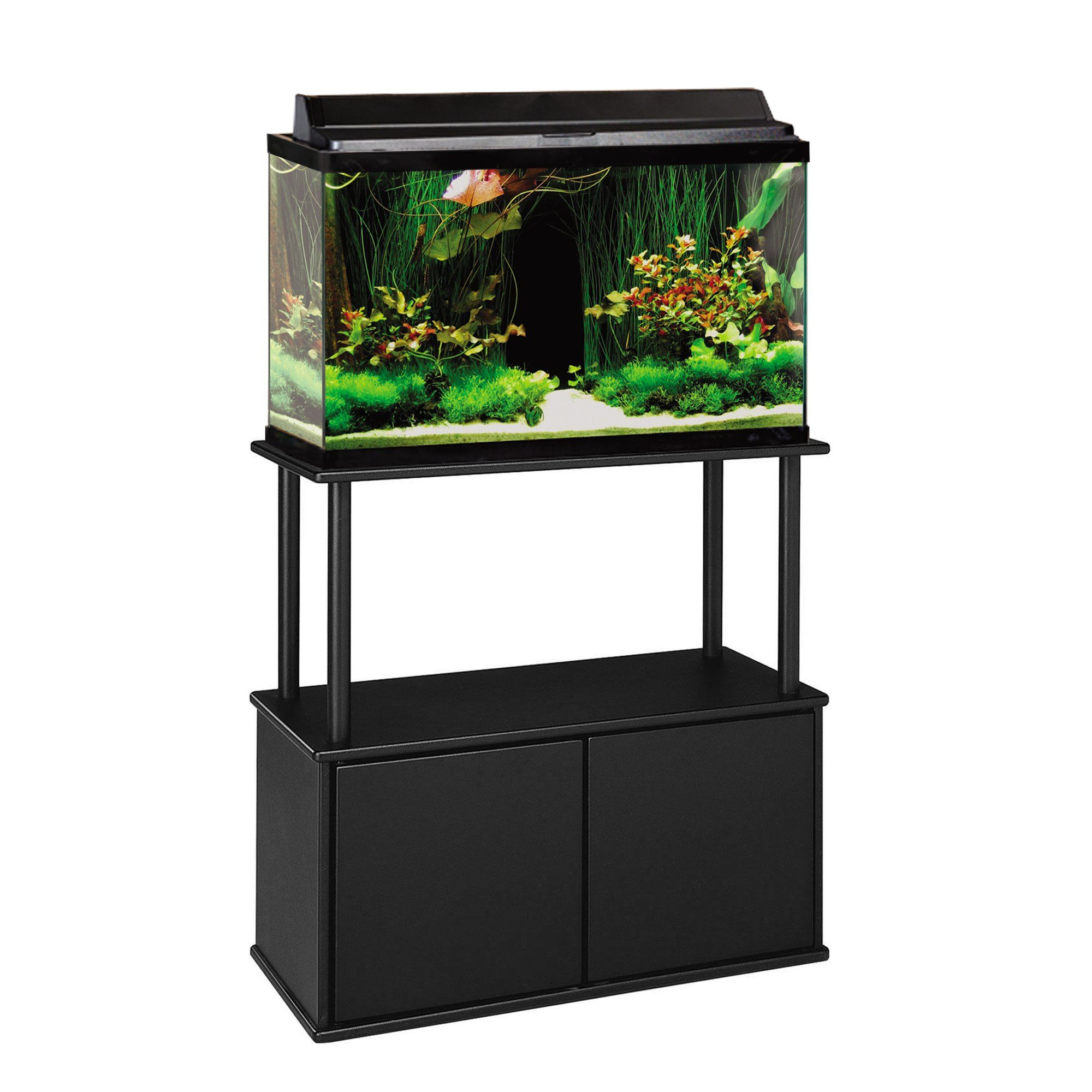 Black stand with storage compartment. Fits 20 and 29