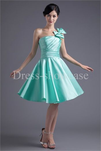 Satin One Shoulder Apple Sleeveless A-Line Bridesmaid Dresses