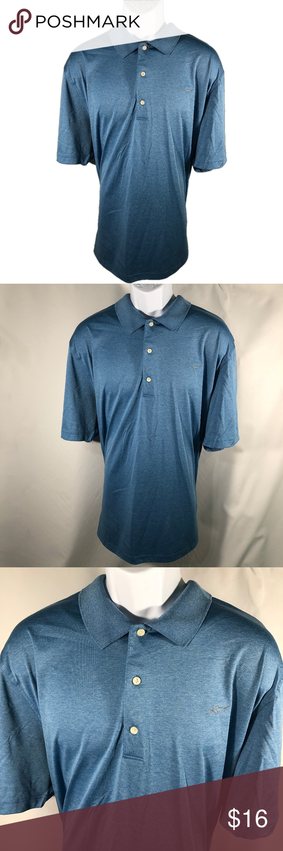 """Greg Norman ML75 Polo Details:  Brand: Greg Norman  Tag Size: XXL  Inventory Number: BC05  Measurements:  Chest: 52"""" Sleeve: 12"""" Body: 31""""  ·         Please see photos of commonly requested measurements. Do not hesitate to message requesting additional measurements or clarification.  Materials:  ·         Please see photo of complete materials tag with in listing.  Condition:  ·         Item is pre-owned. Previously gently worn. Free from stains, snags or holes. Greg Norman Shirts Polos"""