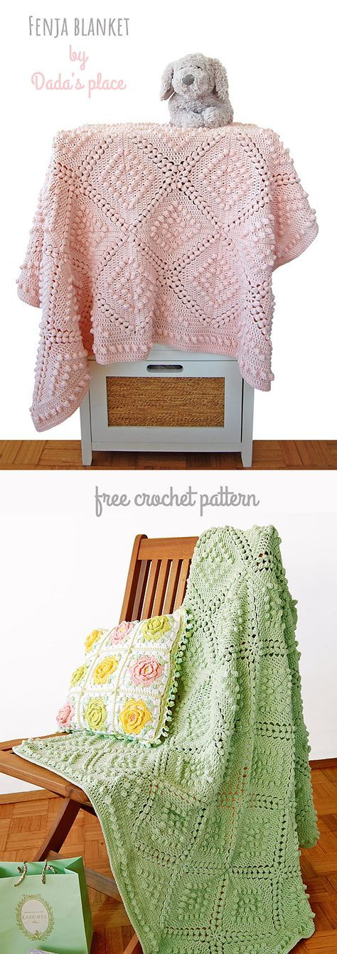 This beautiful and vintage style blanket is designed by Dada's place. It's a free crochet pattern on Dada's place blog. Welcome! #fenjablanket #vintagecrochet #freecrochet #freecrochetblanketpattern #vintagecrochetpattern #babyblanket