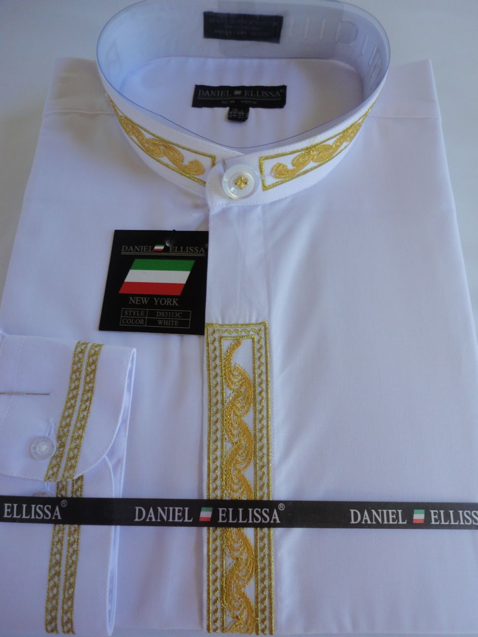 Mens nehru collarless banded collar white gold embroidery Buy white dress shirt