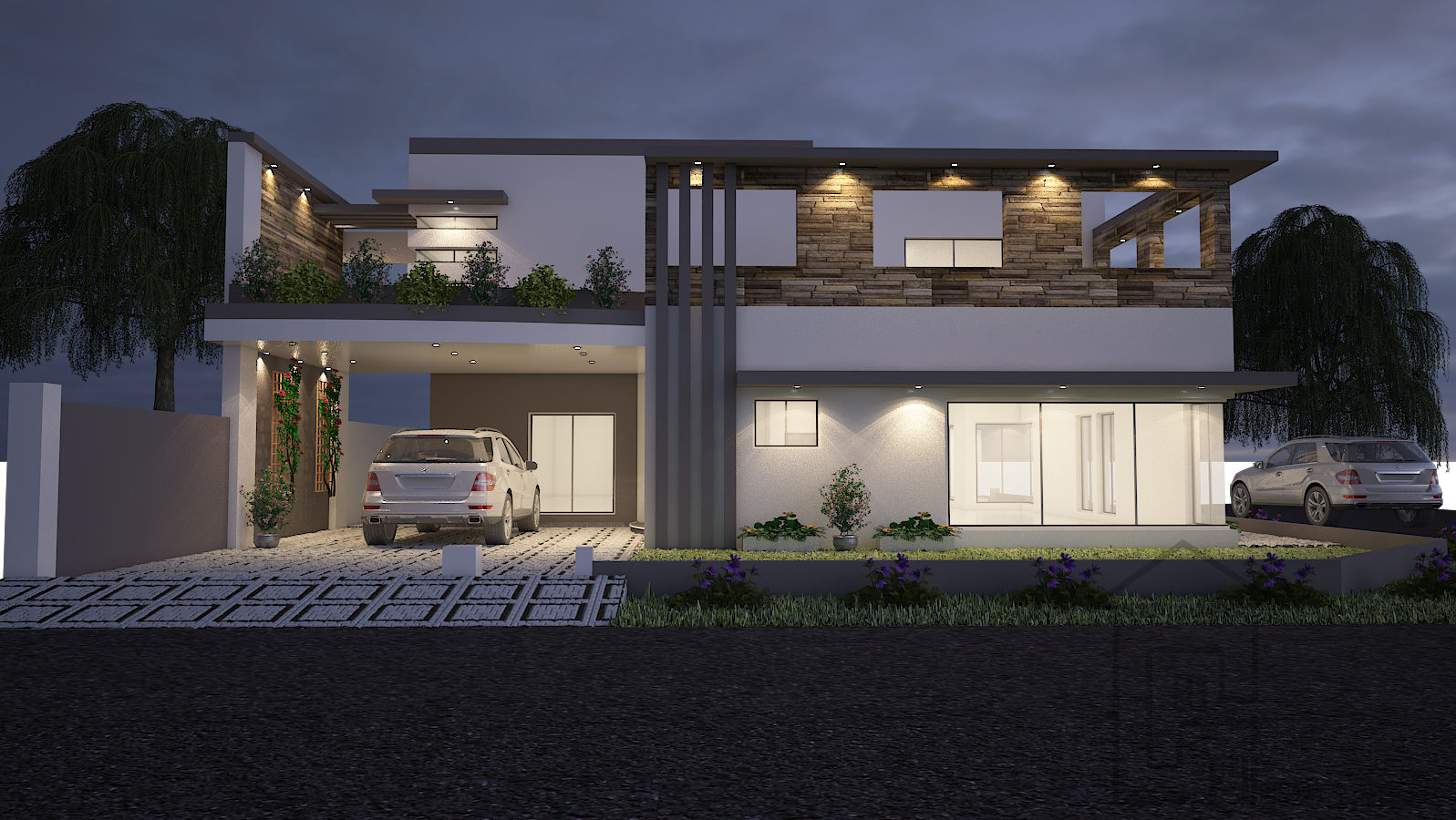 Double Storey Bungalow Elevation : House front elevation design and floor plan for double