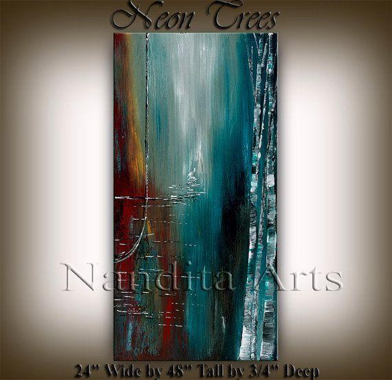 """48"""" ursprünglichen Landschaft abstrakte Kunst, große abstrakte Malerei, Wall Art Home Dekor, von Nandita Albright"""