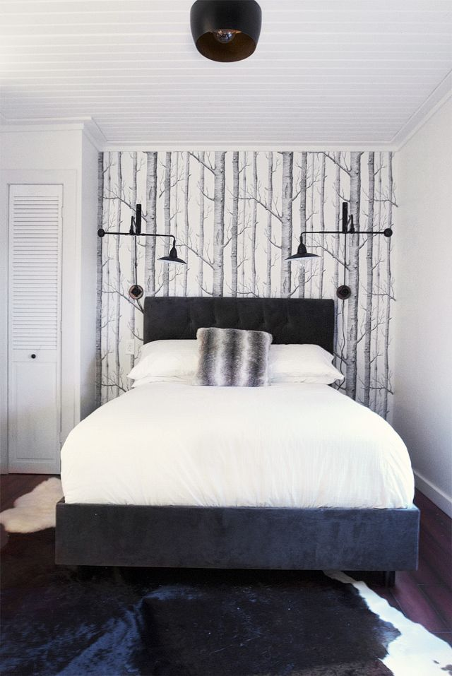 birch wallpaper & bedroom wall sconces | ideas for home ...