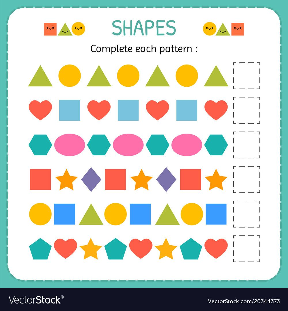 Complete each pattern. Learn shapes and geometric figures ...