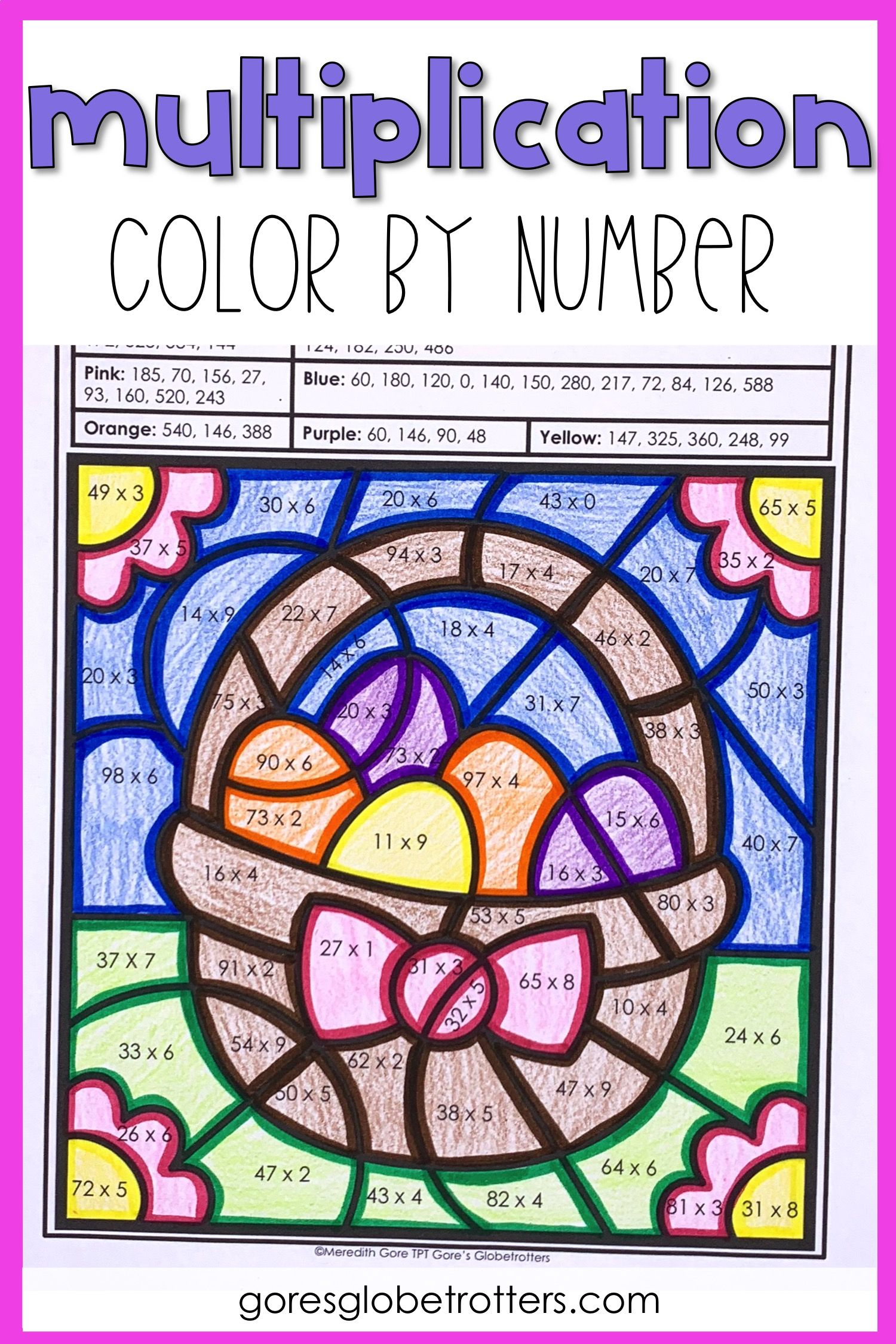 Spring Math Color By Number Differentiated Multiplication