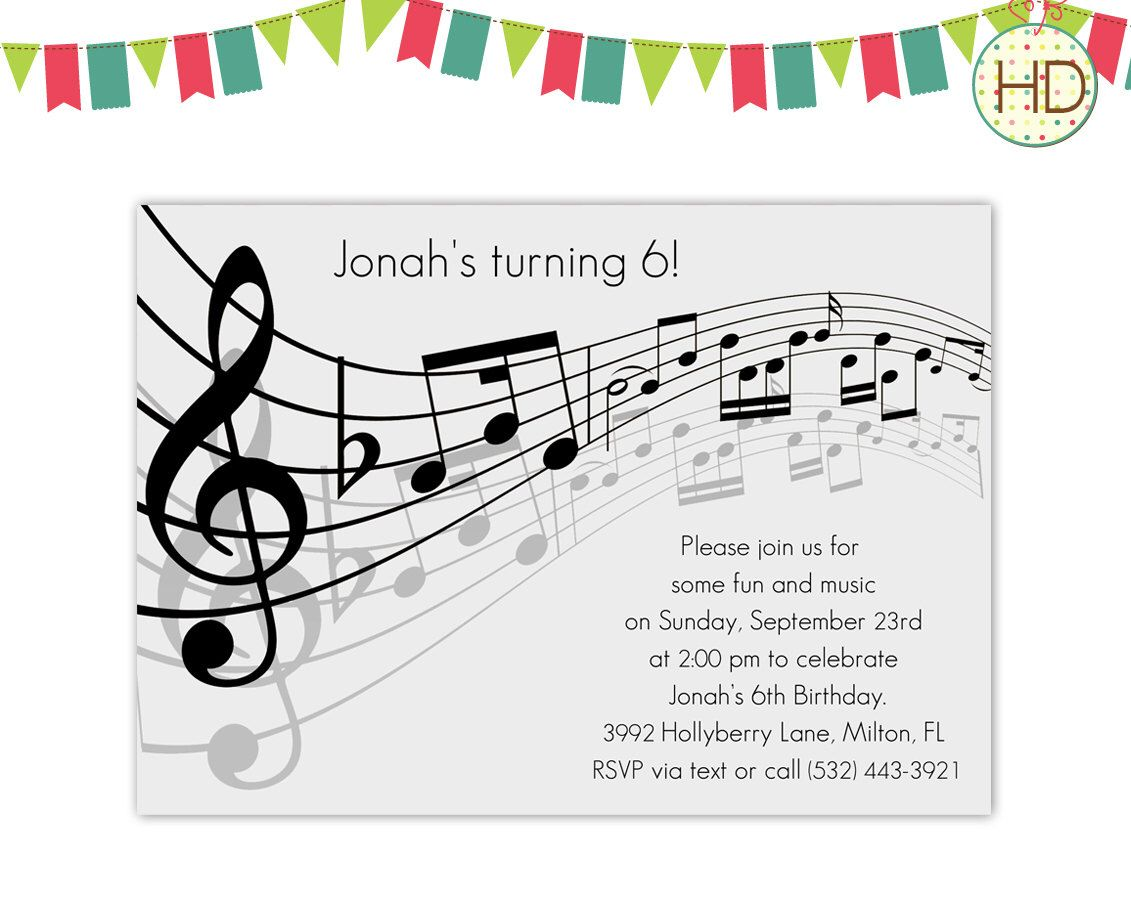 Grey Music Notes Invitation, Musical Party, Sheet Music