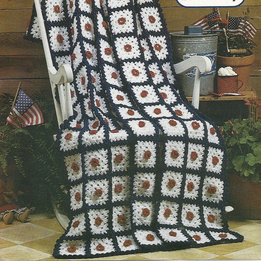 Patriotic Granny Afghan Crochet Pattern Home Decor Throw Blanket P-101 by PatternMania3 on Etsy