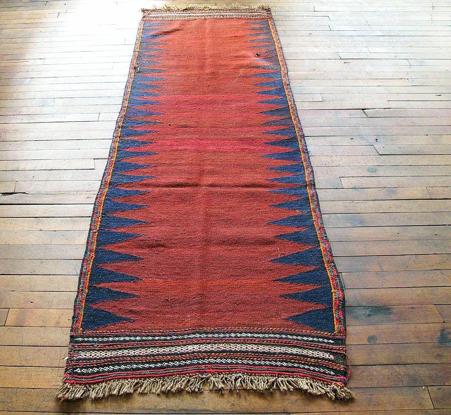 Vintage Persian Kilim   Red Hallway, Kitchen, Bathroom Runner Rug 2x6