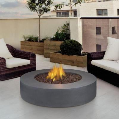 Real Flame Mezzo 42 In Round Propane Gas Fire Pit In Flint Gray 9660lp Fg The Home Depot Round Propane Fire Pit Backyard Fire Fire Pit Table