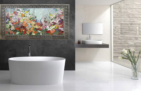 FLORAL GARDEN MOSAIC wall art- made to order- bathroom wall relief ...
