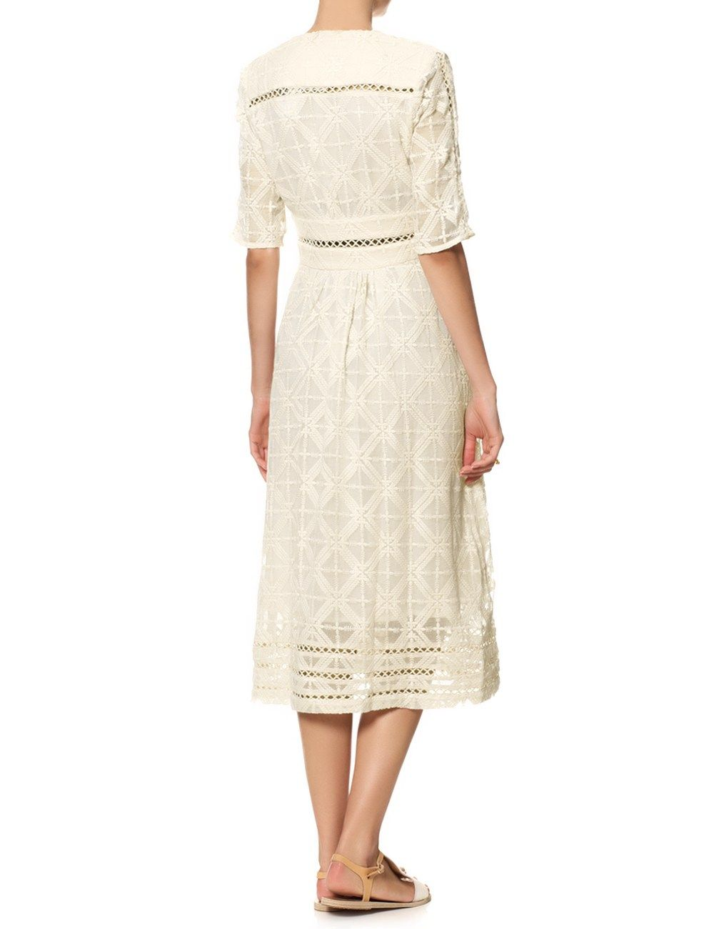Zimmermann Cream Silk Cross Stitch Dress in Beige (Natural)