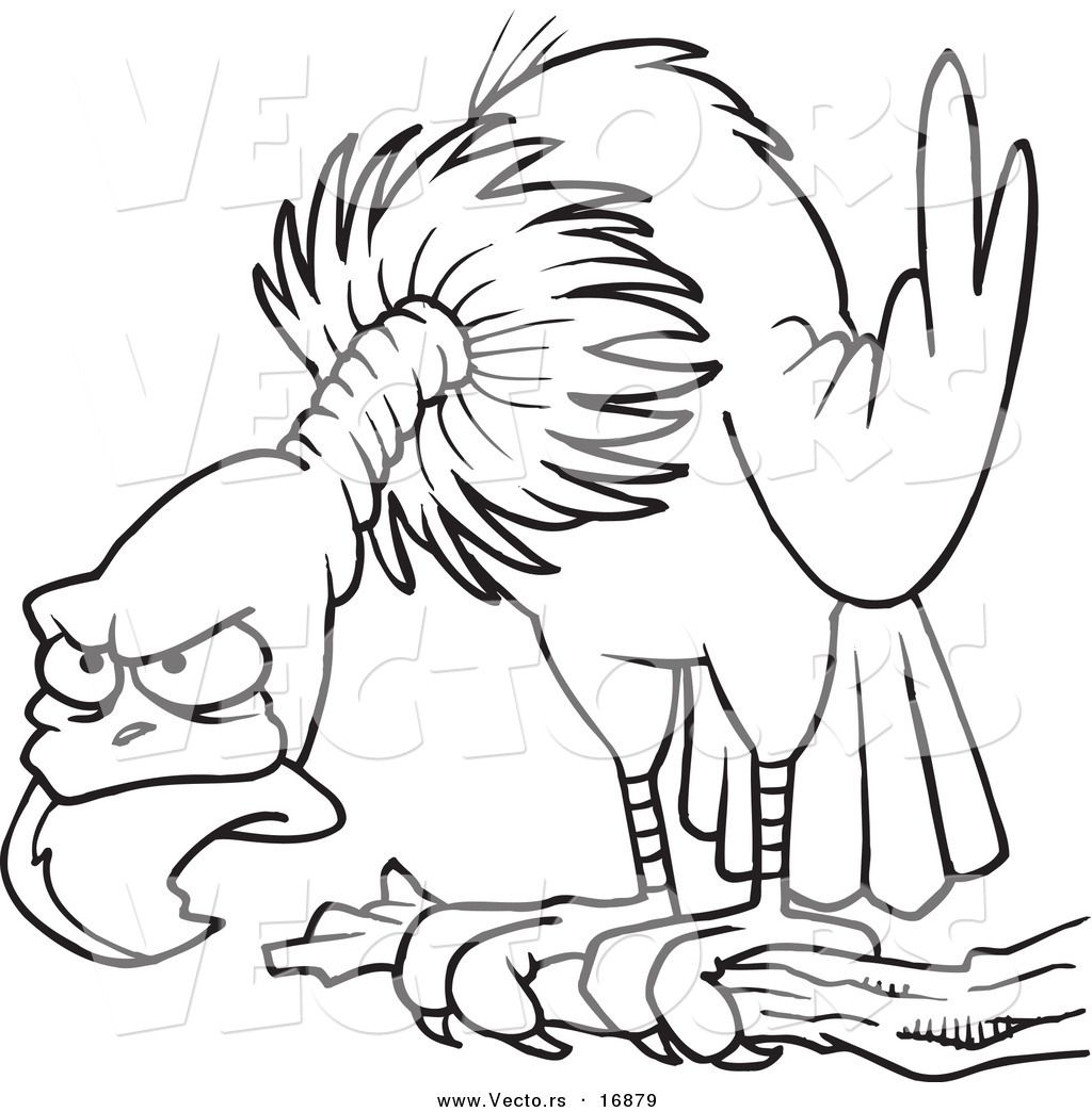 Vector of a Cartoon Perched Buzzard - Coloring Page Outline by Ron ...