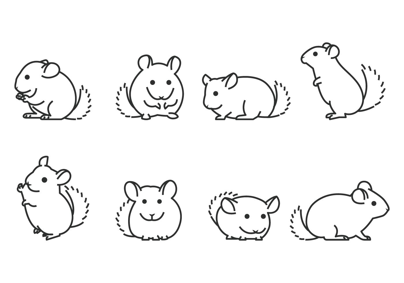 Chinchilla Pets Icons In Flat Line