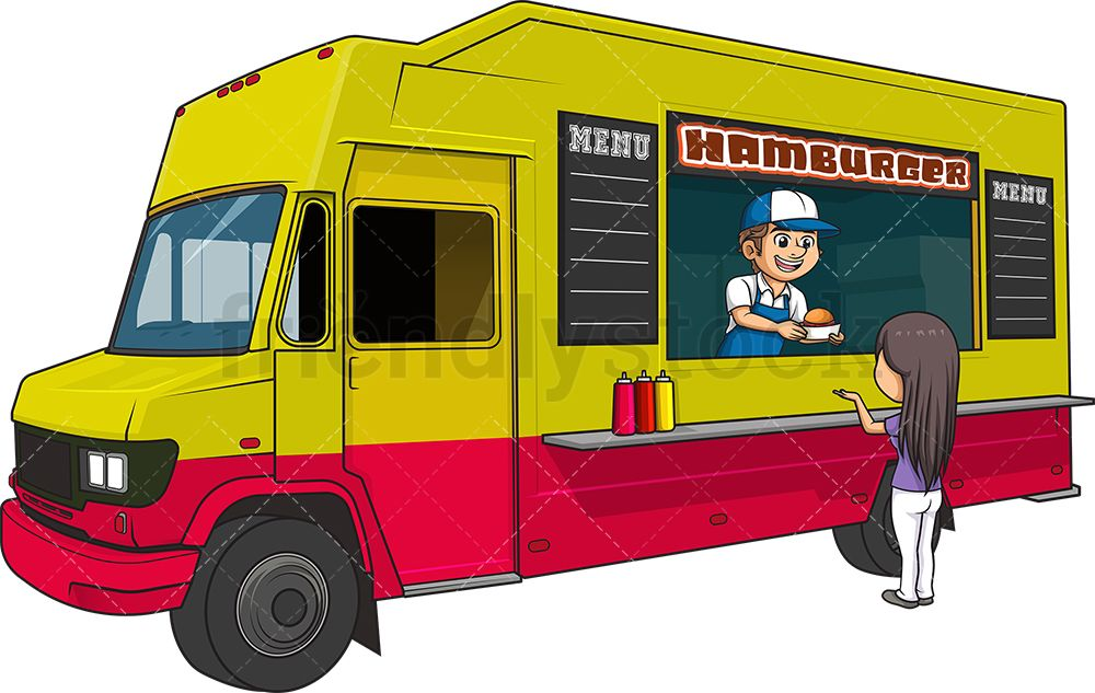 Hamburger Food Truck With Customer With Images Cartoon Clip