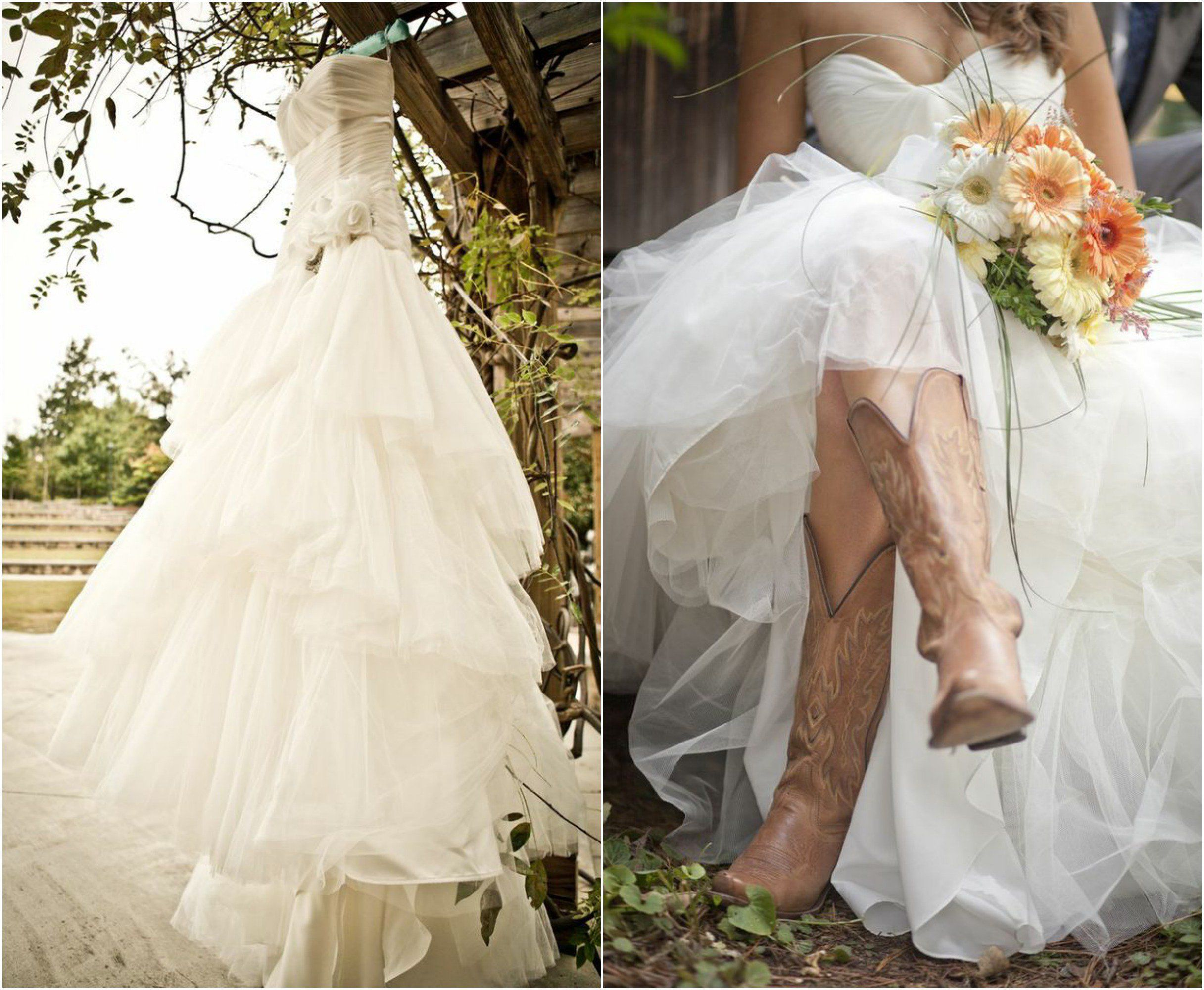 Wedding dresses with cowgirl boots  Rustic Wedding With Bridesmaids In Cowboy Boots  Cowboy boots