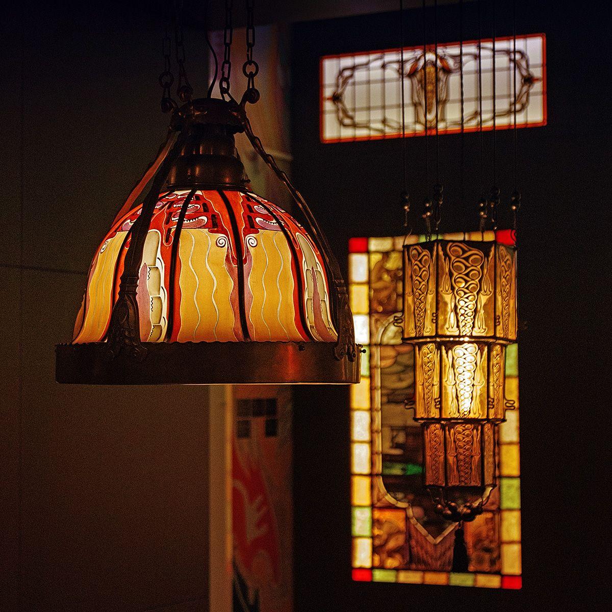 Pin Van Claudia Gagnon Op Amsterdamse School Pyrochrome Lampshades Art Deco Lampen Art Deco Deco