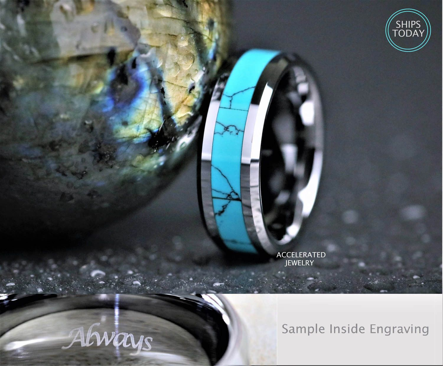 8MM Mens Silver Tungsten And Turquoise Wedding, Engagement