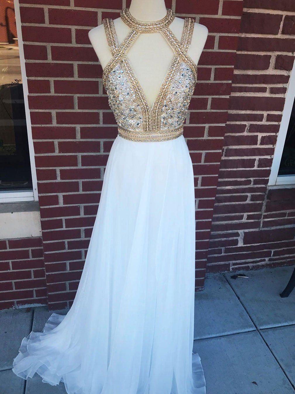 Shining silklike chiffon jewel neckline aline prom dresses with