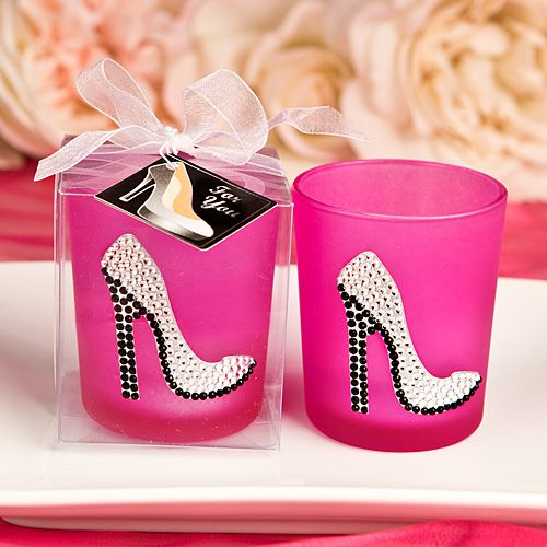 Sparkly High Heel Shoe On Hot Pink Votive Candle Holder  7bf62558f2bb