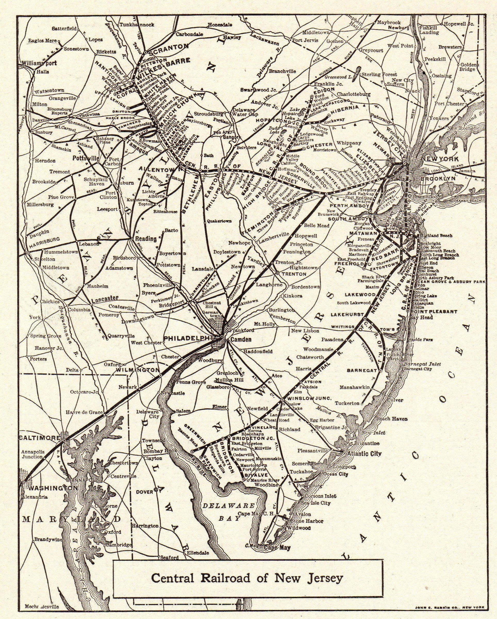 Central New Jersey Map 1924 Antique CENTRAL RAILROAD of New Jersey Map Black and White