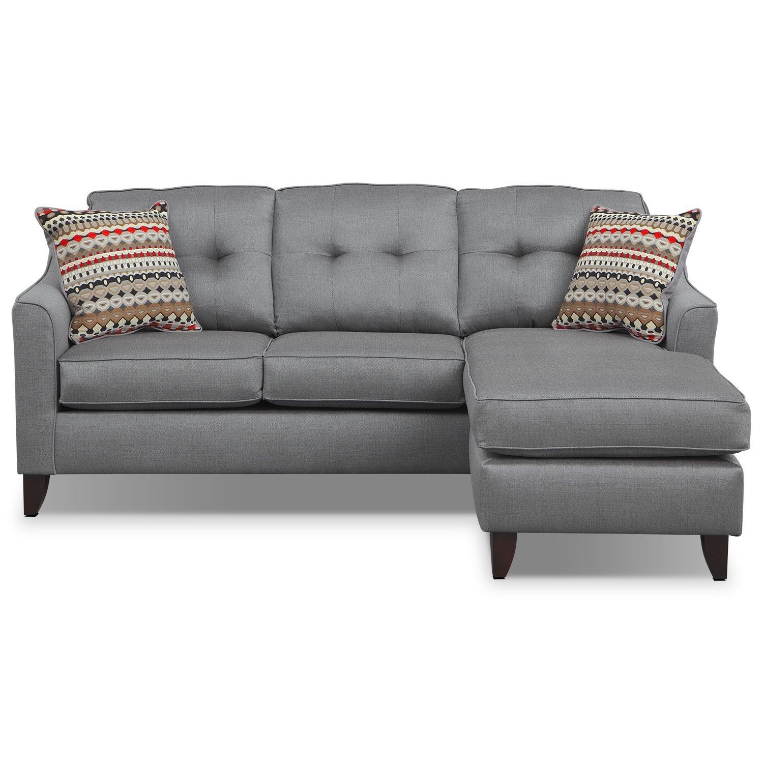 Simply Stylish Sit Back Relax And Sink Into The Comfortable Marco Chaise Sofa Upholstered With Gorgeous Gray Polyester To Preserve Colo Couch With Chaise Chaise Sofa Grey Chaise Sofa