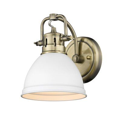 Photo of Bodalla 1-Light Armed Sconce Finish: Aged Brass with Matte White Shade