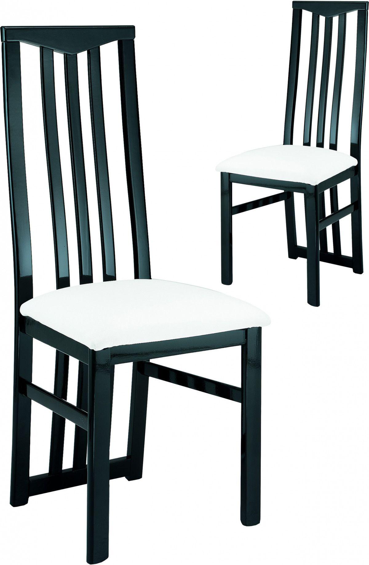 Lot De 2 Chaises Noires Et Blanches Ultra Design Salle A Manger