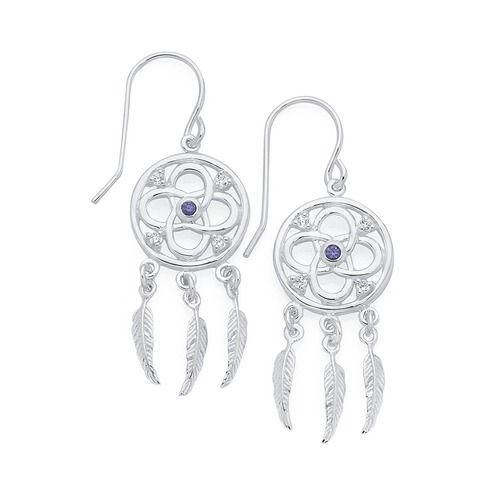 Silver Violet Cz Celtic Dream Catcher Earrings Goldmark Australia