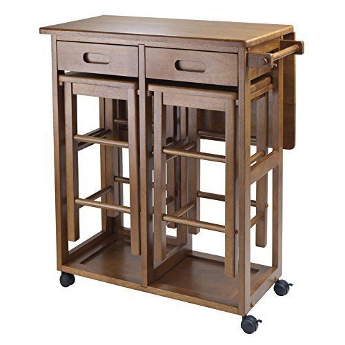 Charmant Table With 2 Stools Space Saver Bar Kitchen Cart Chairs Drawers Cooking  Utensils #Winsome