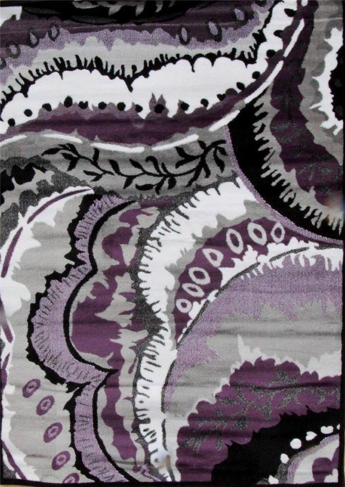New Abstract Purple Gray Rug Black Modern Carpet