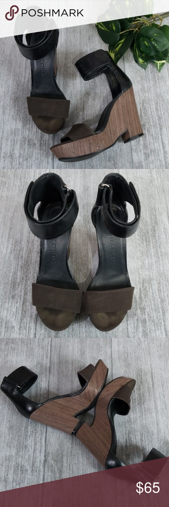 See by Chloe canvas, leather & wood wedges See by Chloe black & brown canvas, leather and wood wedges. Velcro ankle straps.  Size 37. Approximately 4