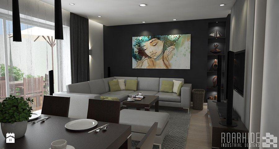 Wadomice - projekt salonu i przedpokoju - Salon, styl nowoczesny - zdjęcie od ROARHIDE Industrial Designs