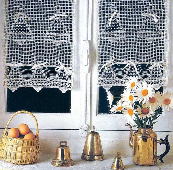 gardine filethäkeln advent/weihnachten glocken italienisch