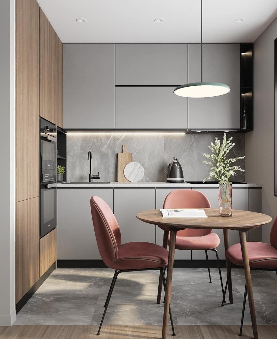 Современная и стильная кухня-гостиная 12 кв.м. Очаровательный дизайн, из-за которого хочется проводить здесь всё своё время.