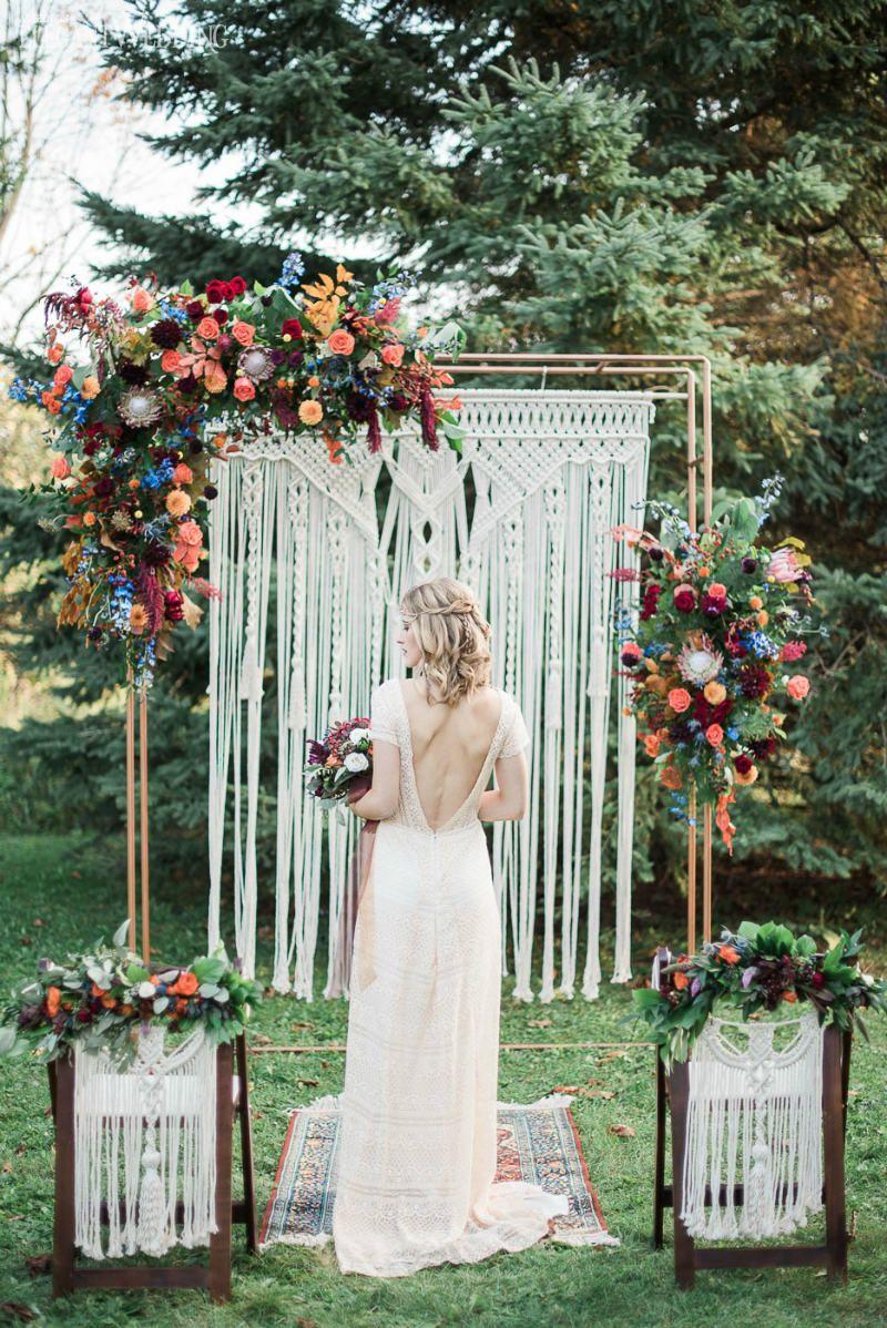 Vibrant Bohemian Wedding Inspo For Fall Boho Wedding Arch