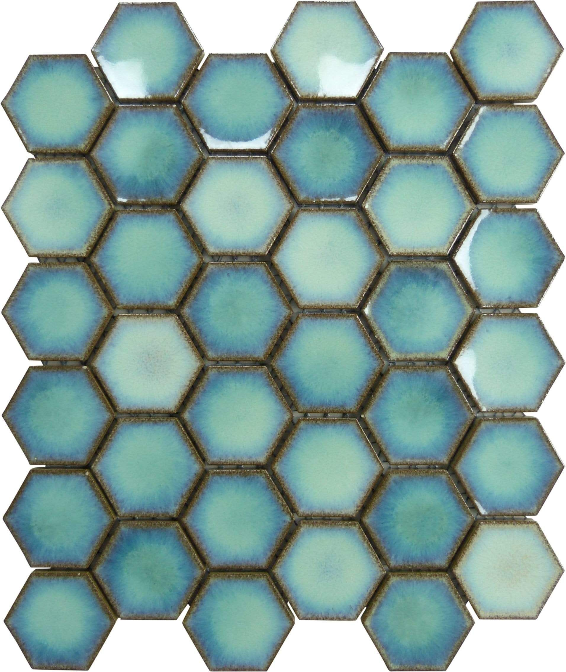Cosmic Blue Hexagon Glossy Porcelain Tile In 2020 Porcelain Tile Tile Bathroom Shower Tile