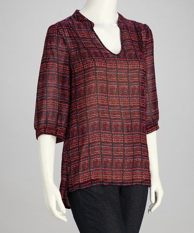 Take a look at this Berry Plaid Top by Sienna Rose on #zulily today!
