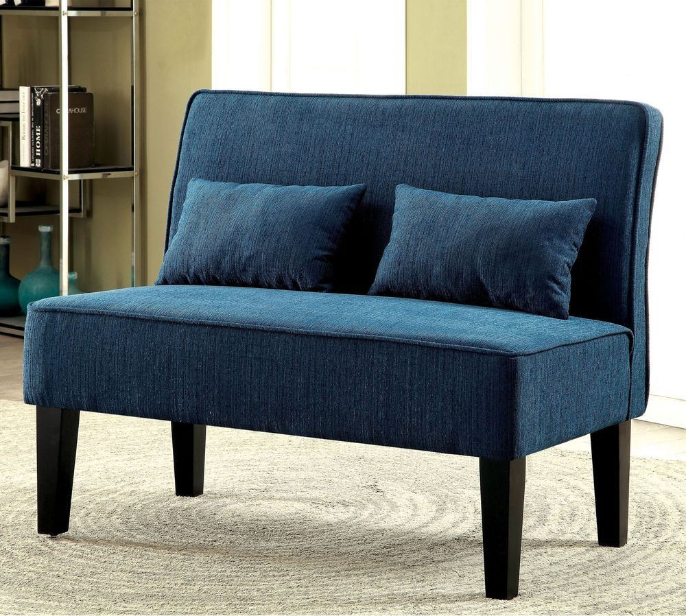 Fine Upholstered Armless Loveseat Settee Seating Teal Bench Andrewgaddart Wooden Chair Designs For Living Room Andrewgaddartcom
