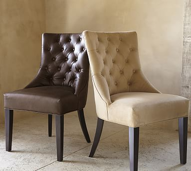 Hayes Tufted Leather Dining Chair Potterybarn Leather Dining Side Chairs Side Chairs Dining Leather Dining Chairs