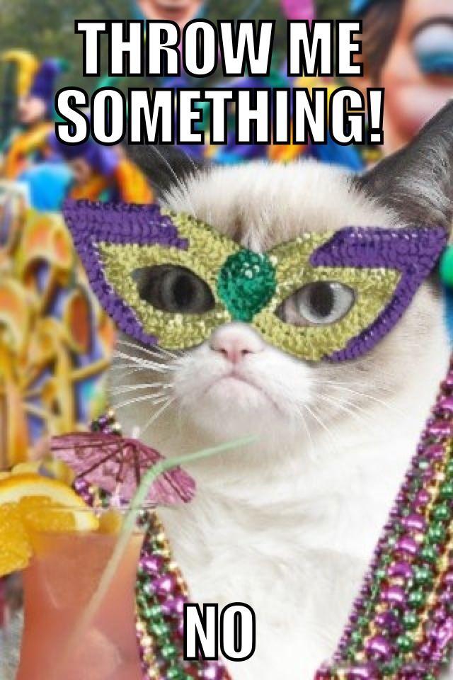 Mardi Gras, Grumpy Cat, Beads :)