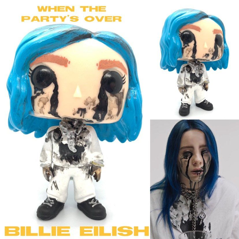 Custom Funko Pop Billie Blue Hair Female Singer When The Etsy Custom Funko Pop Funko Pop Dolls Custom Funko