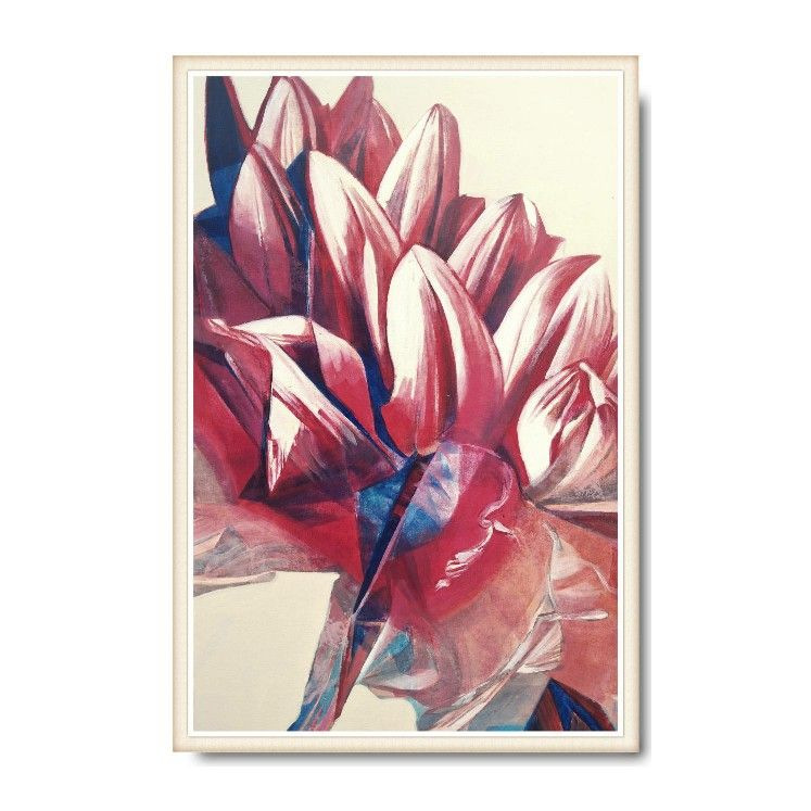Red dahlia blossom painting in red shades and blue accents. Create ...