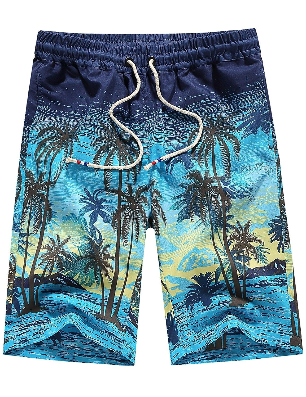 019d91bfc3 ... Clothing Online by Evastyleus. Men's Tropical Quick Dry Beach Shorts  Casual Hawaiian Aloha Board Shorts - Blue - CT18607MHT5,