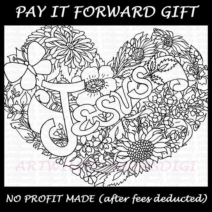FREE Jesus Coloring Page Digi Stamp Heart Christian Adult Color