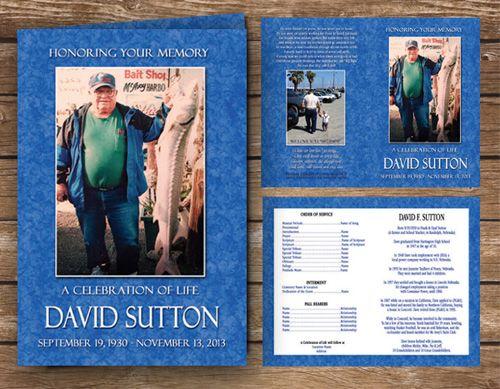 fishing fisherman funeral program blue ocean color in 2019