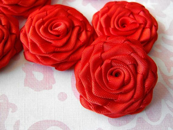 6 handmade roses satin ribbon flowers in red by playtheribbon